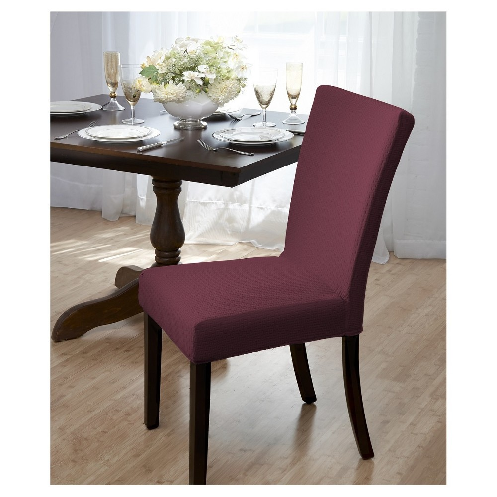 Madsion Burgundy (Red) Subway Dining Room Chair Cover - M...