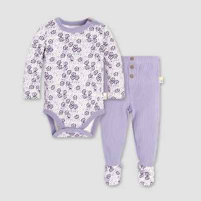 Burt's Bees Baby® Baby Girls' Dotty Blooms Floral Bodysuit and Thermal Footed Pant Set - Purple 0-3M