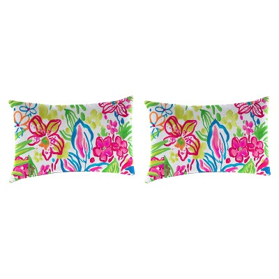 Outdoor Set Of 2 Rectangular Accessory Toss Pillows In Valeda Island - Jordan Manufacturing