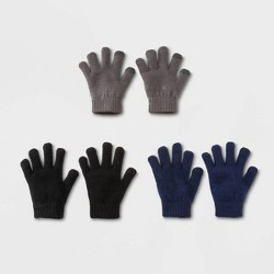 Boys' 3 pk Gloves - Cat & Jack™ Gray/Blue/Black One Size