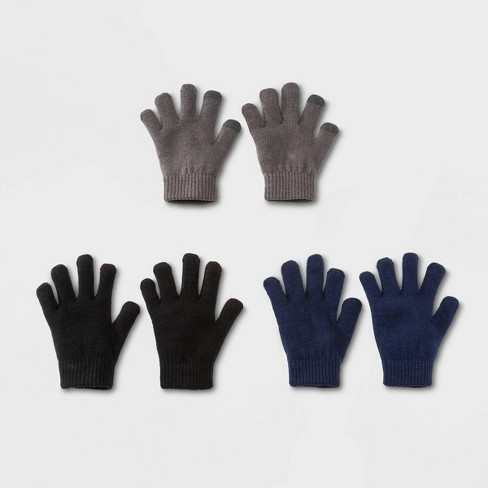 Boys' 3pk Solid Knitted Gloves - Cat & Jack™ Gray/Blue/Black One Size - image 1 of 1