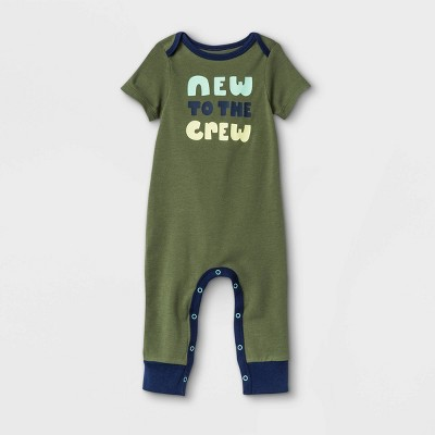 Baby Boys' 'New To The Crew' Romper - Cat & Jack™ Olive Green
