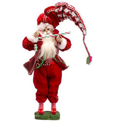 """Allstate Floral 17"""" Red and Green Plush Santa Claus with Candy Cane Christmas Figurine"""