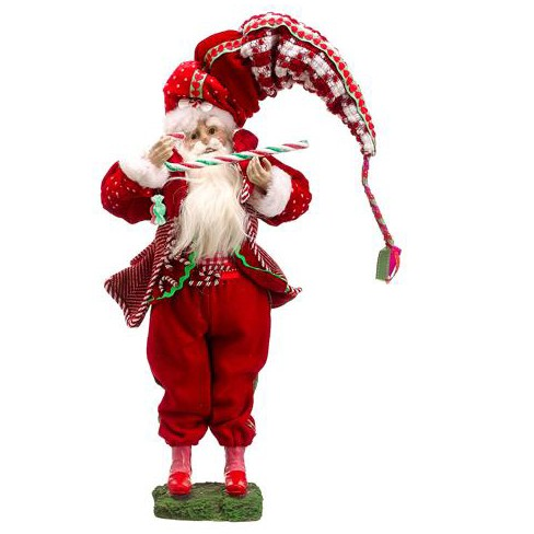 "Allstate Floral 17"" Red and Green Plush Santa Claus with Candy Cane Christmas Figurine - image 1 of 1"