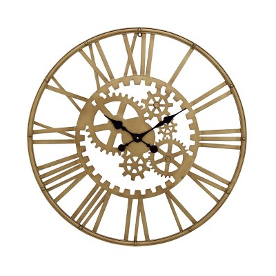 "32"" x 32"" industrial Style Metal Round Gear Wall Clock with Roman Numerals Gold - CosmoLiving by Cosmopolitan"
