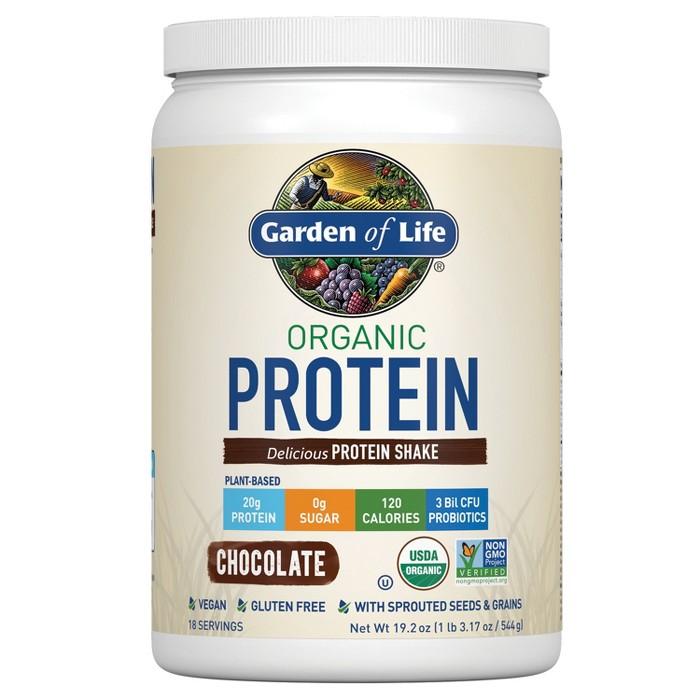 Garden of Life Organic Vegan Protein Powder - Chocolate - 19.2oz - image 1 of 4