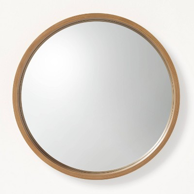Small Round Wood Framed Mirror Natural - Hearth & Hand™ with Magnolia