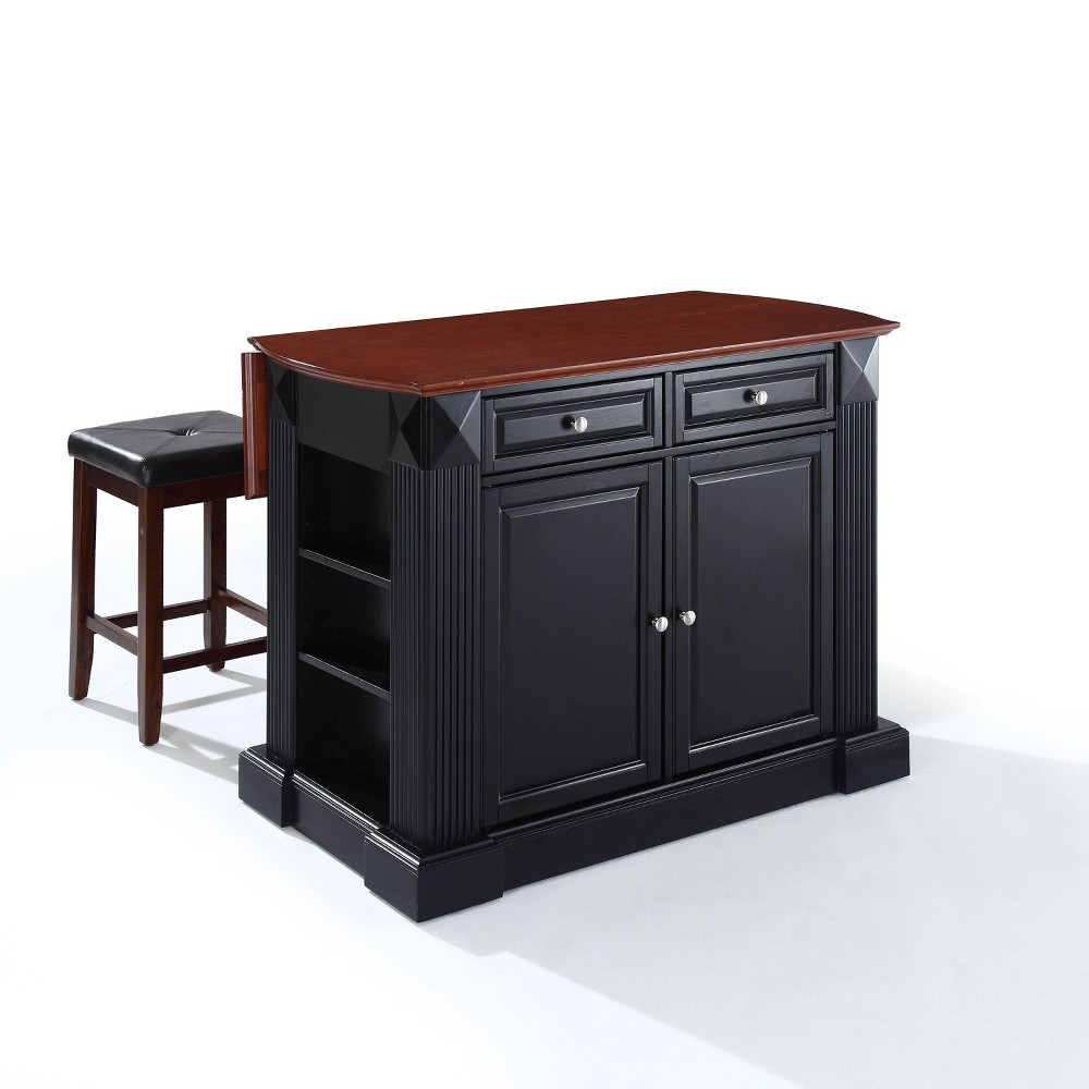 "Image of ""24"""" Coventry Upholstered Square Seat Stools & Drop Leaf Breakfast Bar Black - Crosley"""