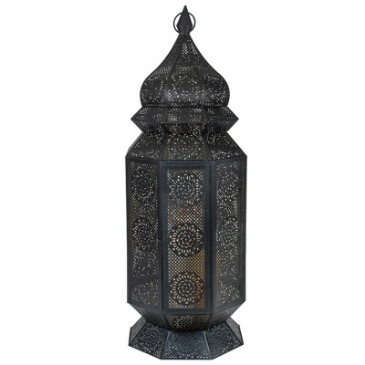 "Northlight 29.5"" Black and Gold Moroccan Style Floor Pillar Candle Lantern"