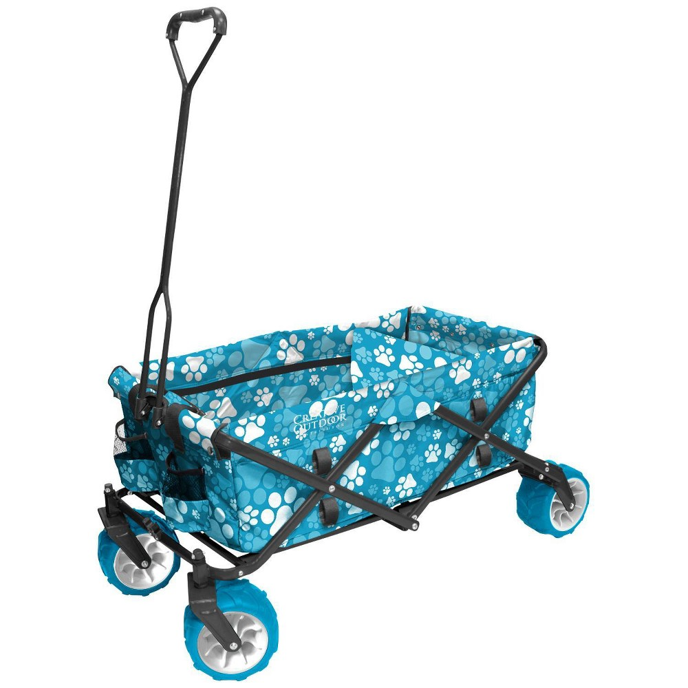Image of Creative Outdoor Distributor All Terrain Folding Wagon - Blue Paw Print