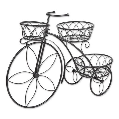 """13.1"""" Indoor/Outdoor Iron Tricycle 3-Tier Plant Stand Black - Zings & Thingz"""