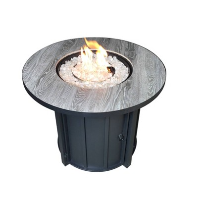 Faux Wood Tile Top Outdoor Patio Fire Pit - AZ Patio Heaters