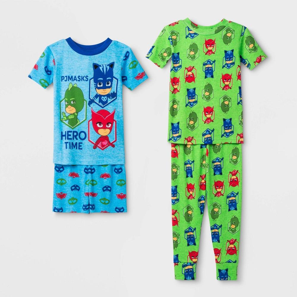 Image of Toddler Boys' 4pc PJ Masks Pajama Set - Blue/Green 2T, Boy's