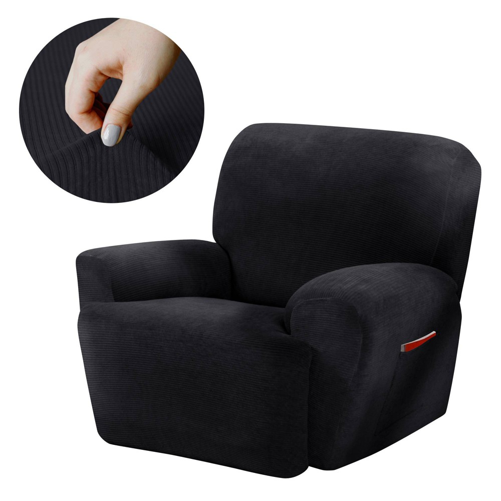 Image of Black Collin Stretch Recliner Slipcover (4 Piece) - Maytex