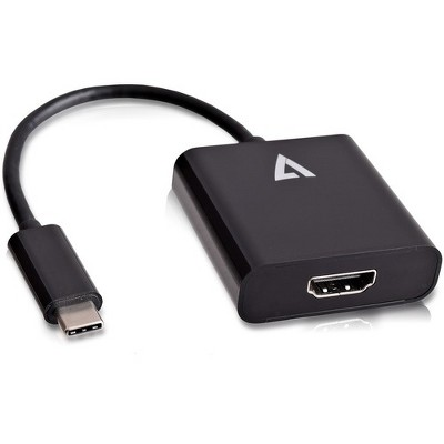 """V7 USB-C male to HDMI female Adapter Black - 3.94"""" HDMI/USB A/V Cable for MacBook, Monitor - First End: 1 x Type C Male USB"""