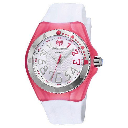 Women's Technomarine TM-115225 Cruise Original Quartz Silver and Red Dial Strap Watch - White - image 1 of 1