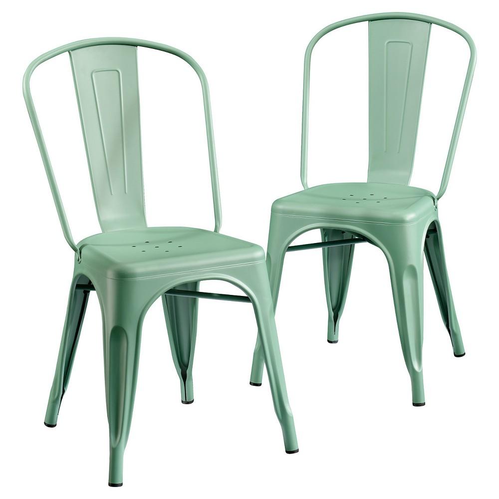 Metal Cafe Dining Chair (Set of 2) - Matte Green - Sauder