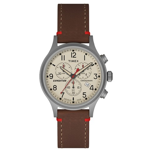 5689768dd Men's Timex Expedition® Scout Chronograph Watch With Leather Strap -  Silver/Brown TW4B04300JT : Target