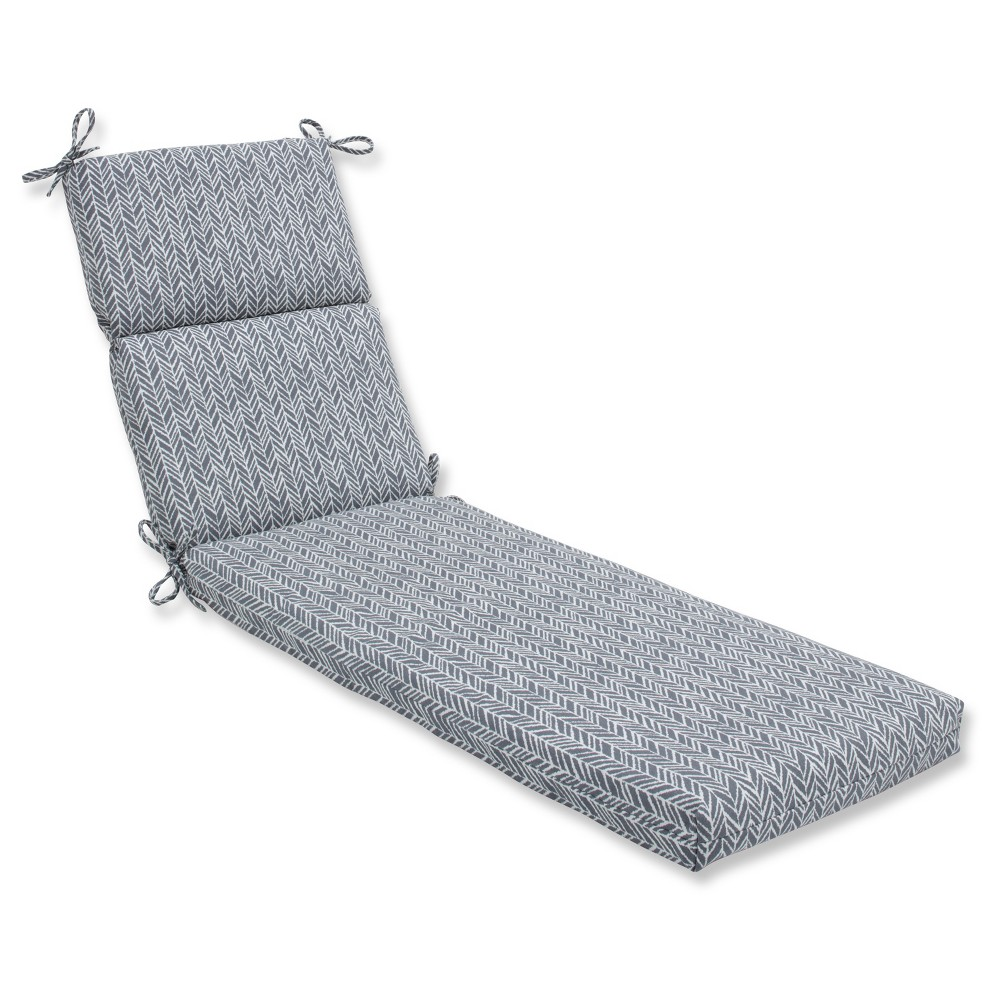 Outdoor/Indoor Herringbone Gray Chaise Lounge Cushion - Pillow Perfect