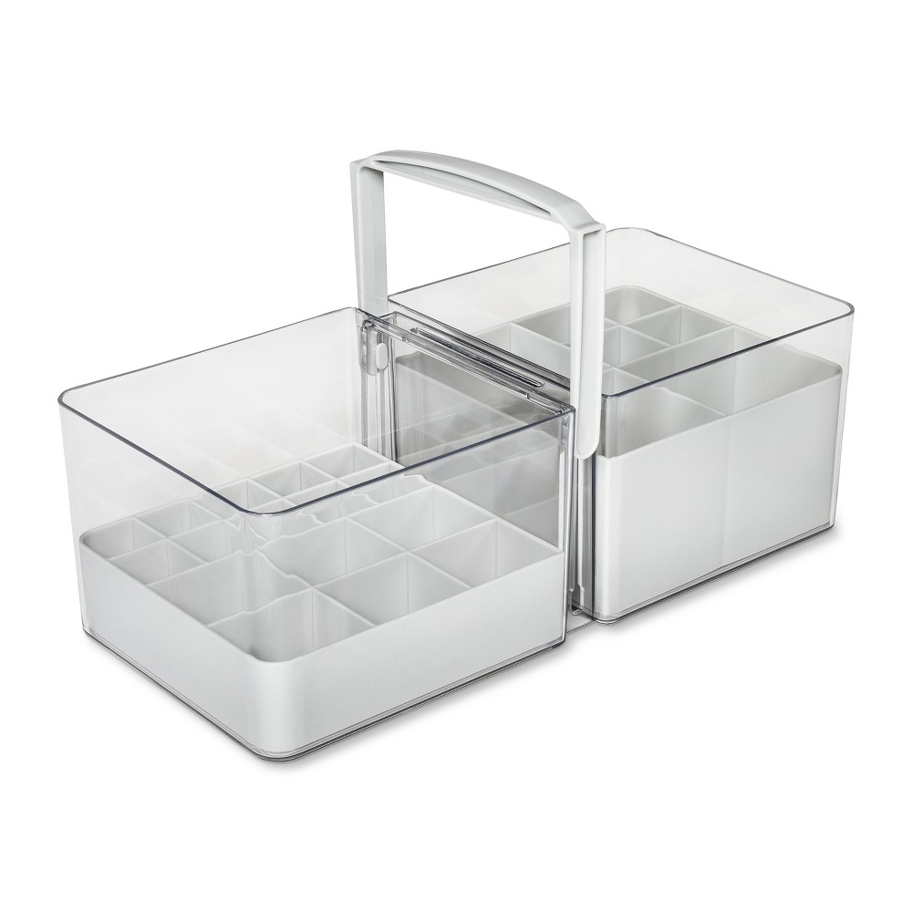 Image of Solid Cosmetic Portable Tote With Dividers Utility Storage Bin White - Made Smart