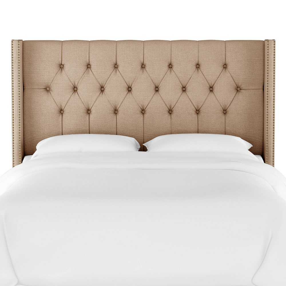 Queen Louis Diamond Tufted Wingback Headboard Tan Linen with Brass Nail Buttons - Skyline Furniture Discounts