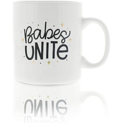 Okuna Outpost White Large Ceramic Coffee Mug Tea Cup, Babes Unite (16 oz, 3.7 x 4.1 in)