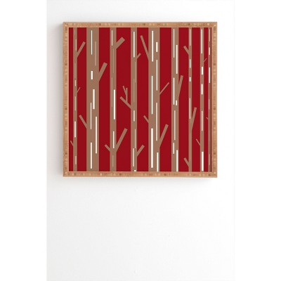 Lisa Argyropoulos Modern Trees Bamboo Framed Wall Art Red - Deny Designs