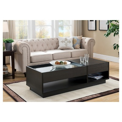 Karl Modern Tempered Glass Top Coffee Table With Storage Cappuccino    IoHOMES
