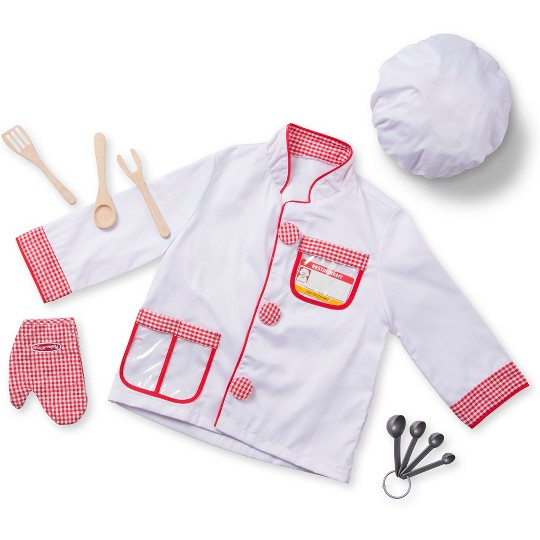 Melissa & Doug Chef Role Play Costume Dress -Up Set With Realistic Accessories, Adult Unisex, Size: One Size, Red/Gold/red image number null