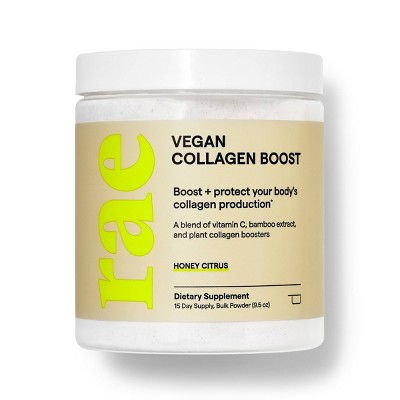 Rae Vegan Collagen Boost Dietary Supplement Bulk Powder for Natural Collagen Production - Honey Citrus - 9.5oz