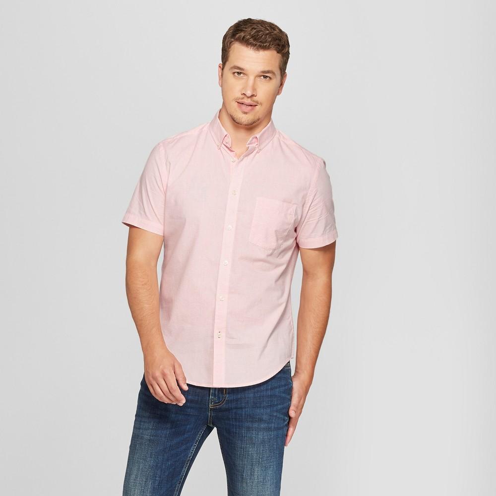 Men's Striped Standard Fit Short Sleeve Poplin Button-Down Shirt - Goodfellow & Co Georgia Peach L, Pink