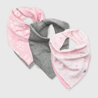 Honest Baby Baby Girls' 3pk Organic Cotton Love Dot Bandana Bib
