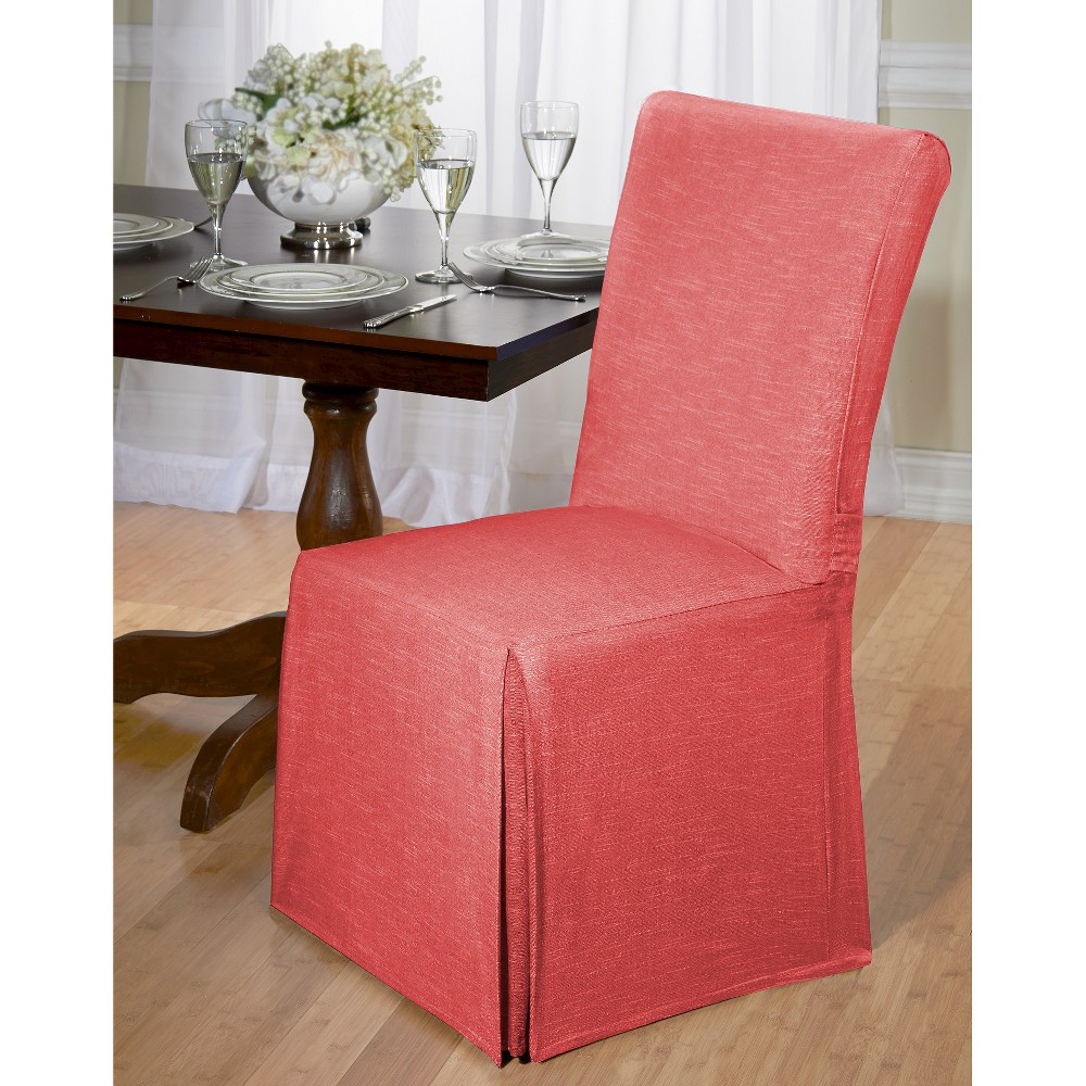 Madsion Red Chambray Dining Room Chair Slipcover - Madiso...