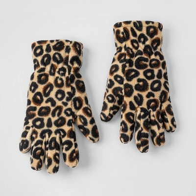 Girls' Leopard Fleece Gloves - Cat & Jack™ Brown
