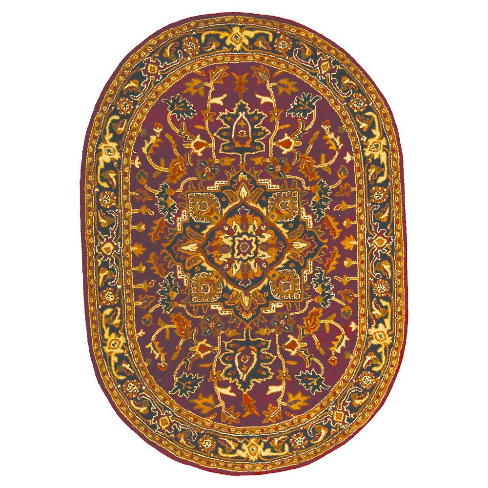 Red/Navy (Red/Blue) Solid Tufted Oval Area Rug - (4'6