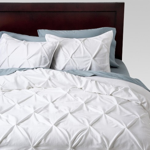 White Pinched Pleat Duvet Cover Set Full Queen 3 Piece Threshold