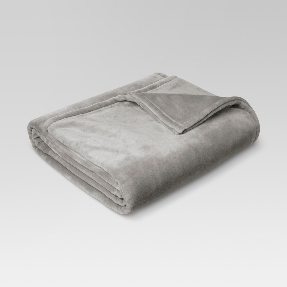 Microplush Bed Blanket (Twin) Seagull - Threshold, Gray