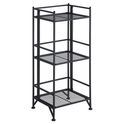 "32.63"" 3 Tier Folding Metal Shelf Black - Breighton Home"