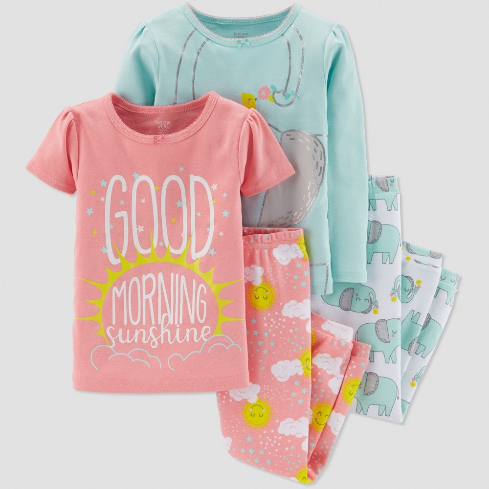 Baby Girls' 4pc Elephant Pajama Set - Just One You made by carter's Light Blue/Light Orange 4T