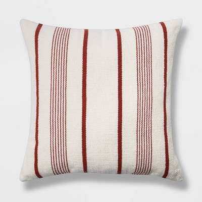 Oversized Woven Textured Striped Square Throw Pillow Cream/Red - Threshold™