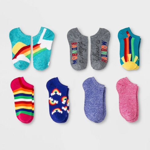 Girls' 7pk No Show Rainbow Marled Socks - Cat & Jack™ Colors May Vary - image 1 of 1