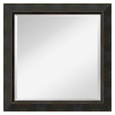 "24"" x 24"" Signore Bronze Wood Framed Wall Mirror - Amanti Art"