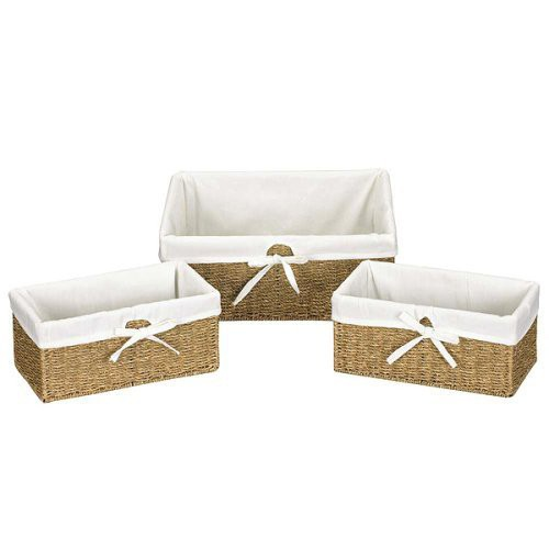 Household Essentials Wicker Cube Storage Basket Set of 3, Beige