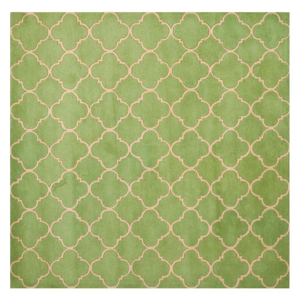 7'X7' Quatrefoil Design Tufted Square Area Rug Green - Safavieh