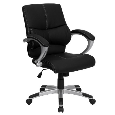 Flash Furniture Mid-Back Black LeatherSoft Contemporary Swivel Manager's Office Chair with Arms