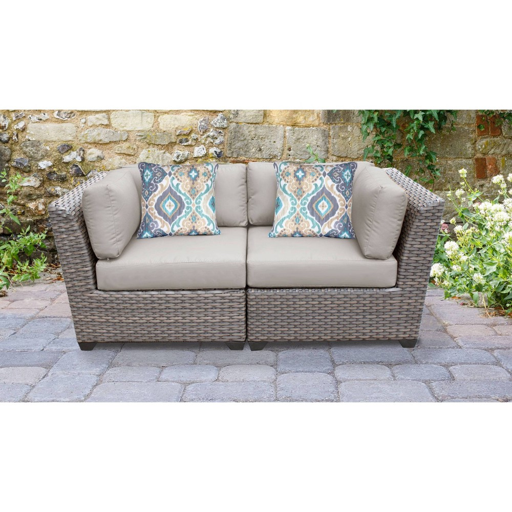 Florence 2pc Outdoor Sectional Loveseat With Cushions Beige Tk Classics