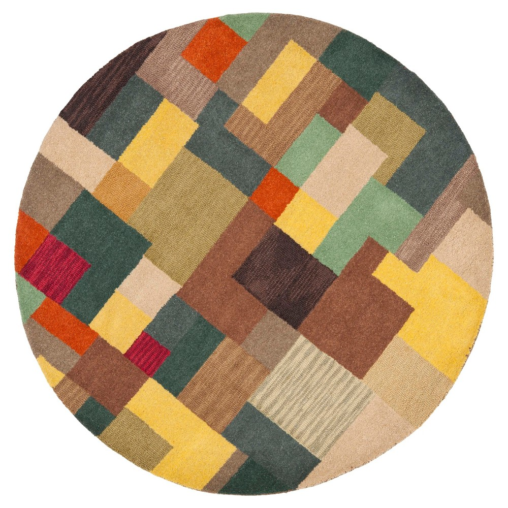 Multi-Colored Abstract Tufted Round Area Rug - (6' Round) - Safavieh, Multicolored