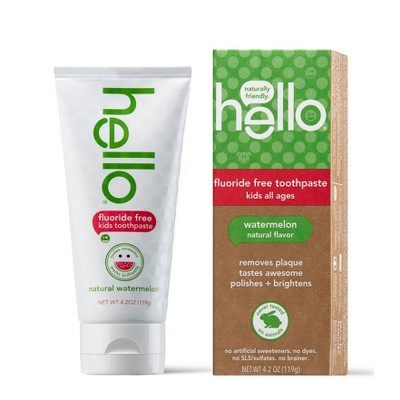 hello Kids Natural Watermelon Fluoride Free Toothpaste, sls Free and Vegan ,4.2oz