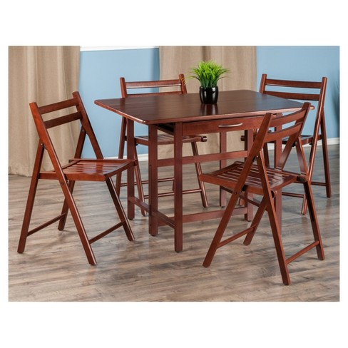 Taylor 5 Piece Set Drop Leaf Table With Folding Chairs Walnut