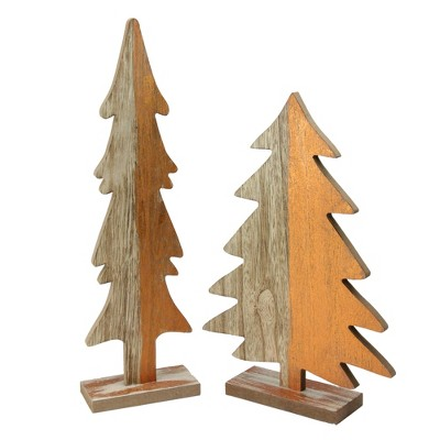 """Ganz Set of 2 Gray and Brown Wood Trees with Metallic Paint Christmas Figurine 14"""""""